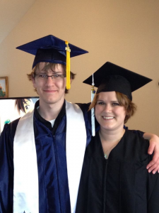 Amy and her brother in May 2013. She graduated with her undergraduate degrees the same weekend her brother graduated from high school.