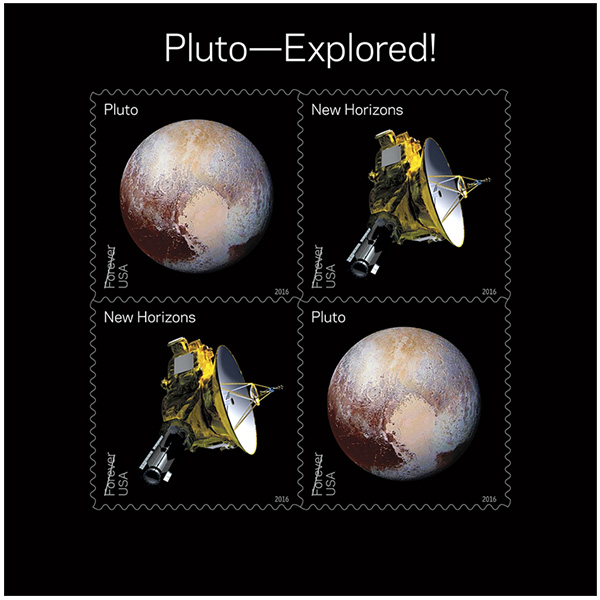 A new stamp set commemorates the New Horizons probe's journey to Pluto, where it captured stunning images of the dwarf planet. A feature of particular interest to Jayhawks is the heart-shaped region, named Tombaugh Regio after the alum who discovered Pluto. (Image: U.S. Postal Service)
