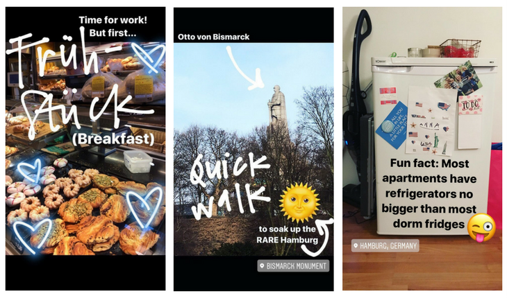 "Three pictures: first a buffet of donuts and pastries with a quote saying ""Time for work, but first Breakfast""; second a picture of stone statue in a park, a heart emoji and a quote saying ""Quick walk"" and a location of the Bismark monument; third a picture of a small fridge, a winking emoji, and quote reading ""Fun Fact: most apartments have refrigerators no bigger than most dorm fridges"""