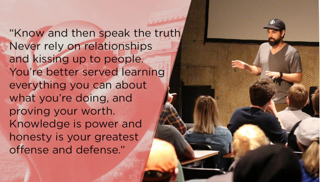 """Picture of Barry talking to a classroom and a quote reading: """"Know and then speak the truth. Never rely on relationships and kissing up to people. Your better served learning everything you can about what you're doing, and proving your worth. Knowledge is power and Honesty is ones greatest offense and defense."""""""