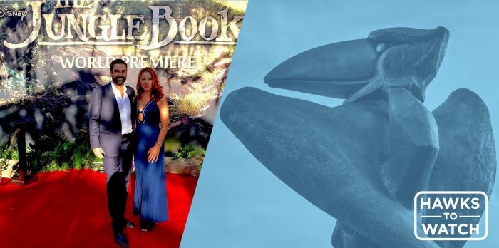 Left: picture of Barry in a navy suit and white shirt posing with a lady in a blue gown on a red carpet, The Jungle Book is written on the wall in the background. Right, a picture of a bronze Jayhawk statue with blue color overlay and white text reading 'Hawks to Watch'