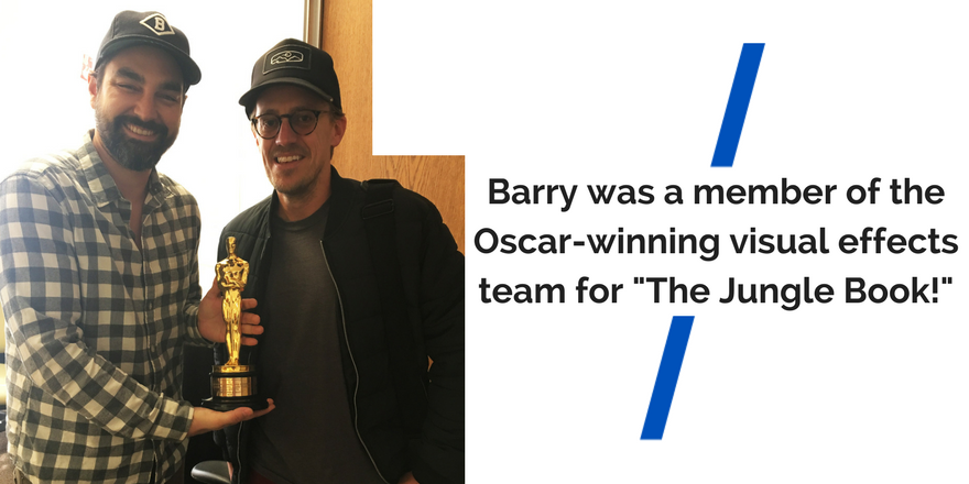 """Barry holds an Academy Award Oscar between him and a colleague. The text reads """"Barry was a member of visual effects team for Oscar winner The Jungle Book!"""""""