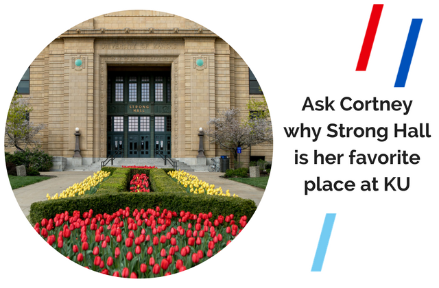 """A picture of Strong Hall with red and yellow tulips in front. A quote reads """"Ask Cortney why Strong Hall is her favorite place at KU"""