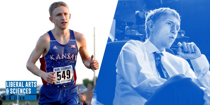 Split picture: Carson Vickroy running cross country for the university of Kansas, and Carson Vickroy seated in a suit at a weather station