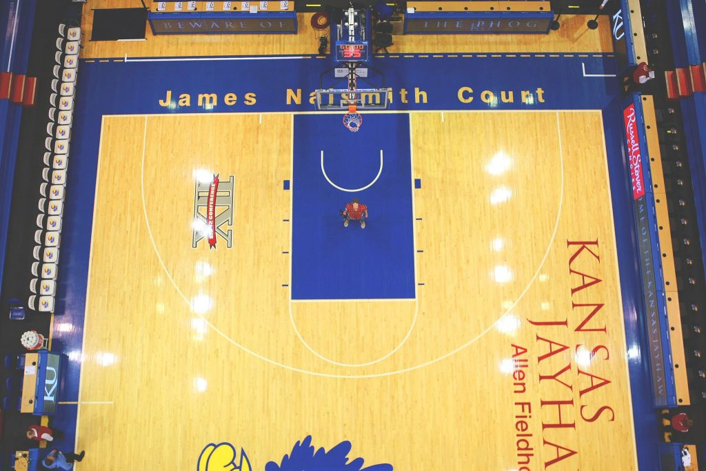 Birds-eye view of one half of James Naismith Court in Allen Fieldhouse.