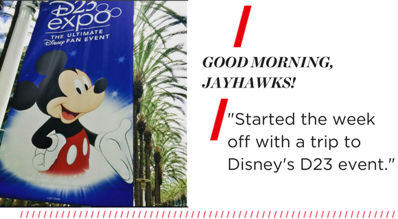 """Left: a picture of the Disney Expo banner with Mickey Mouse. Right, text reads: """"Started the week off with a trip to Disney's D23 event."""""""