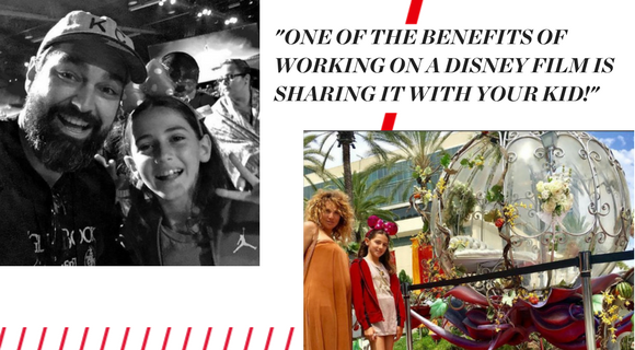 """Two pictures: one is black and white and shows Barry and his daughter. The second is a picture of Barry's wife and daughter posing in front of Cinderella's carriage. Text reads: """"ONE OF THE BENEFITS OF WORKING ON A DISNEY FILM IS SHARING IT WITH YOUR KID!"""""""