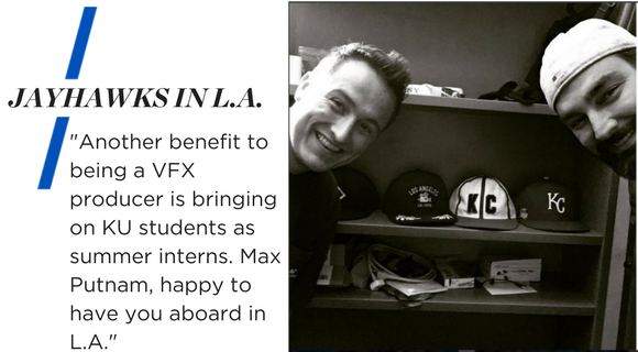 """Black and white picture of Barry and Max Putnam with several KC hats in the background. Text reads: """"Jayhawks in LA. Another benefit to being a VFX producer is bringing on KU students as summer interns. Max Putnam, happy to you aboard in L.A."""""""