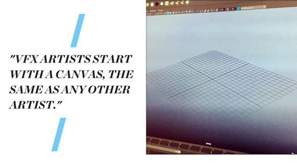 """Image of a computer screen with an image of a net used for graphic design. Text reads: """"""""VFX ARTISTS START WITH A CANVAS, THE SAME AS ANY OTHER ARTIST."""""""