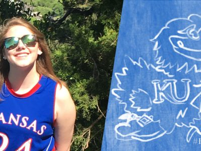 "Photo of McKenzie wearing a KU basketball jersey and sunglasses, smiling in the sun with trees behind her. Text reads ""BeAJayhawk"""
