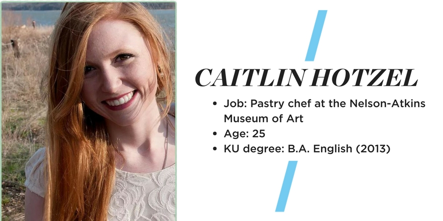 Picture of Caitlin Hotzel on the left. Caitlin is smiling and there is a beach in the background. Text on the right reads: Caitlin Hotzel Job: Pastry Chef at the Nelson Atkins Museum Age: 25 KU degree: B.A. English (2013)