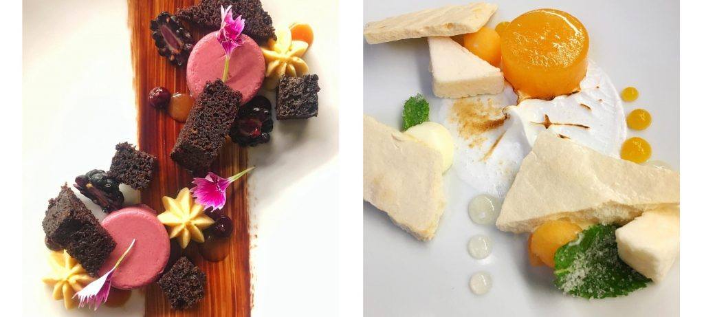 On the left an image of blackberries and pink macarons; on the left a cheese and crackers plate with apricot jam