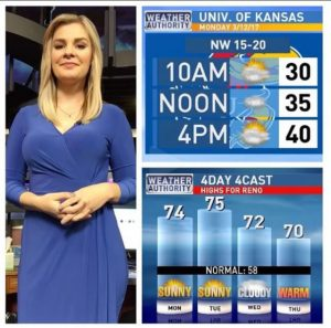 Picture split in three; Cassie Wilson stands on the left with a blue dress; top right is an image of the University of Kansas weather report from 12th March; bottom right is a 4 day forecast of the weather in Reno Nevada.