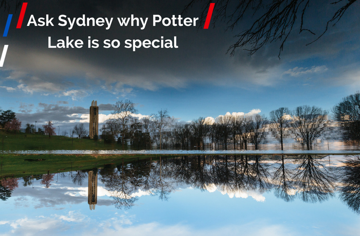 "Picture of Potter lake and the Campanile, with a storm cloud in the sky. The text reads: ""Ask Sydney why Potter Lake is so special."