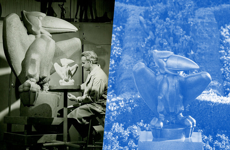 Image to the left shows Prof Teft crafting the Academic Jay that sis outside of Storng Hall. Image to the right shows the Academic Jay outside of Strong Hall with blue overlay.