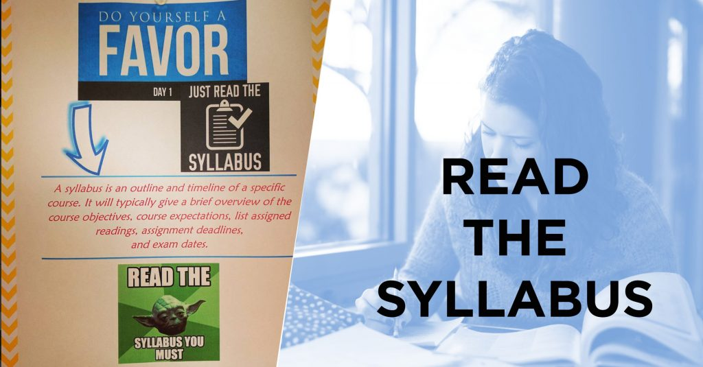 Text reads: Read the syllabus