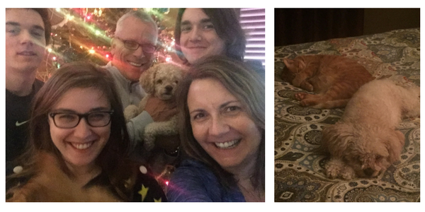 Image on the left of Cynthia, and five of family members, and a white fluffy dog. Image to