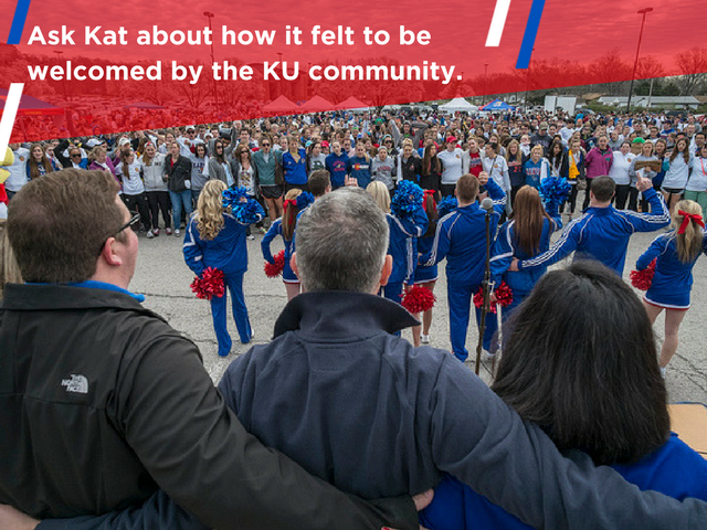 """Image of a large crowd of Jayhawks. Text reads, """"Ask Kat about how it felt to be welcomed by the KU community."""""""